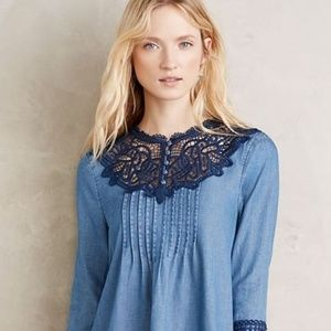 Anthropologie Holding Horses Chambray Top Size 8